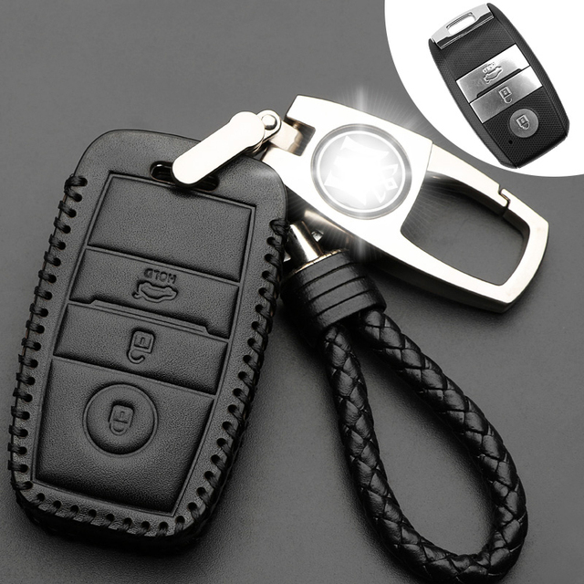 genuine leather smart key case cover keychain for kia kx3 kx5 k3sgenuine leather smart key case cover keychain for kia kx3 kx5 k3s rio