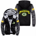 Hot-Selling Fashion Men Women Foot ball Green Bay Packers Zipper Jacket Thicken Hoodie Coat Clothing Casual  Free shipping