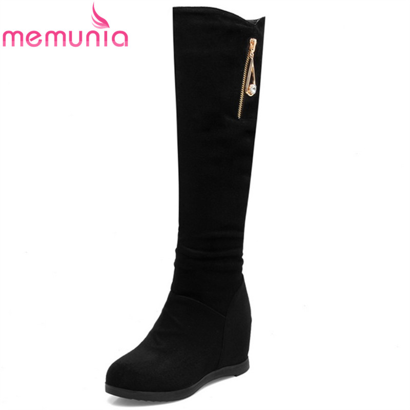 MEMUNIA fashion autumn winter new arrive women boots flock height increasing ladies knee boots round toe zipper black boots clips more короткое платье