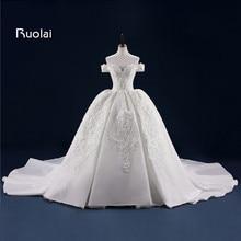 Berkualiti tinggi adat dibuat pakaian perkahwinan panjang off bahu bola gaun gaun pengantin putri pengantin vestido de novia fw61
