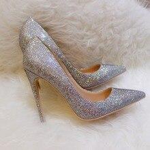 цена на Free shipping fashion women Pumps multi color glitter point toe high heels 12cm 10cm 8cm party shoes bride wedding shoes