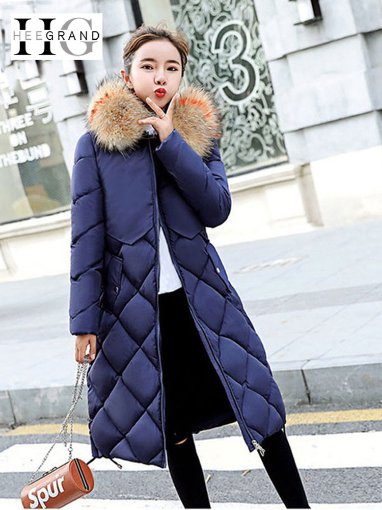 HEE GRAND Spring Autumn Women   Parka   Jackets Fur Collar Elegant Overcoat Long Snow Coats Warm Thick Feather Hooded   Parkas   WWM1703