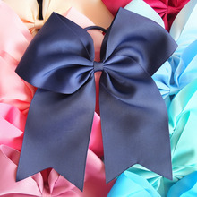 24 Colors 8 inch Bows WITH Elalstic Loop leading Ponytail holder hair bow Bobble Baby Teen Girl Women Large Hair bow