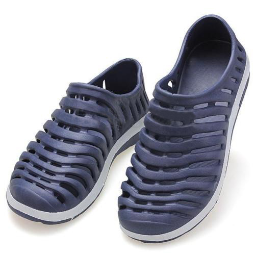 Men Summer Hollow casual shoess Flat Loafer Beach Rubber Sandal Slipper Shoes men slippers genuine leather crocodile designer new 2018 brown blue beach holiday shoes flat slipper for men casual daily sandal