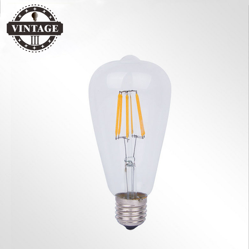 ST64 E27 220V Edison Bulb Dimmable 4W 6W 8W 10W 12W Smart IC Driver No Flicker Low Heat Replace Retro LED Filament Light Bulb