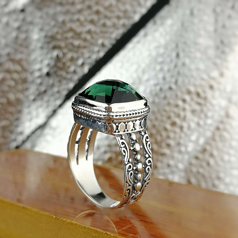 Guaranteed Sterling Silver 925 Emerald Ring Initial Wedding Rings For Women Natural Crystal Opening Type Fine Jewellery Bague
