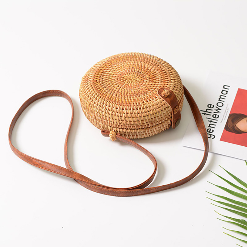 Handmade Rattan Woven Round Women Crossbody Bag Vintage Retro Straw Square Box Messenger Bag Lady Summer Cute Beach Shoulder Bag