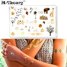 M-Theory Metallic Gold Choker Makeup Temporary 3D Fake Tattoos Body Arts Flash Tatoos Tatoos Sticker Swimsuit Dress Makeup Tools