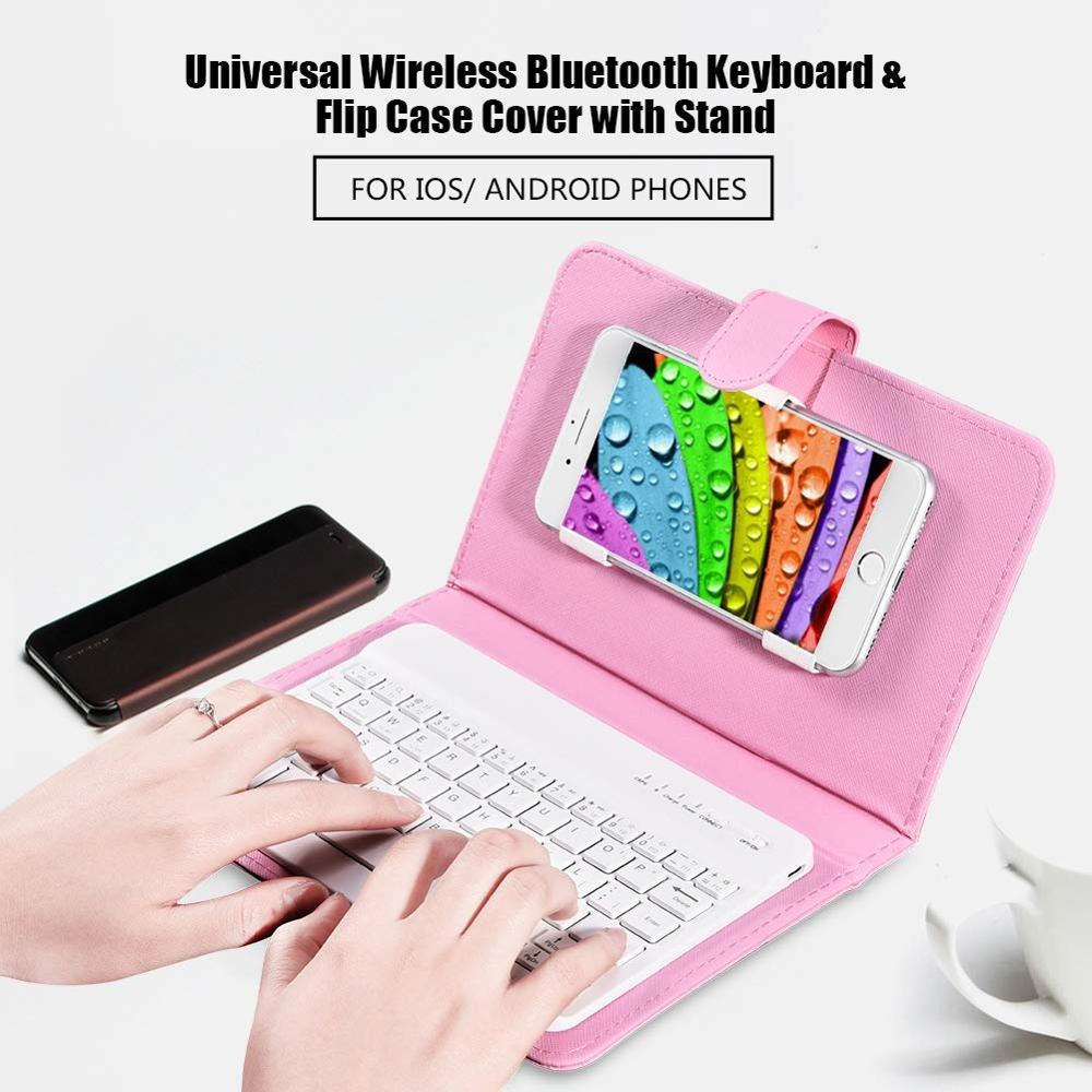 Portable PU Leather Wireless Keyboard Case for iPhone Android Protective Mobile Phone with Bluetooth Keyboard Smartphone image