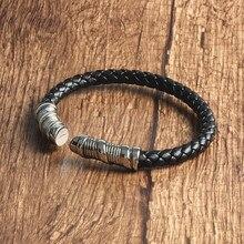 Again Jewel Fashion Jewelry Black Braided Leather Bracelet M