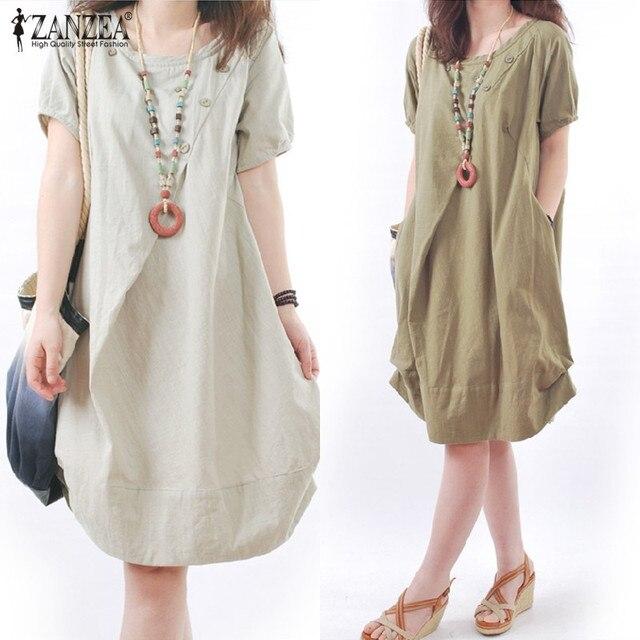 f6b84a45799d ZANZEA 5 Colors Cotton Linen Dress 2018 Women Summer Dress Vintage Short  Sleeve Pockets Casual Mid-Calf Vestido Plus Size S-5XL