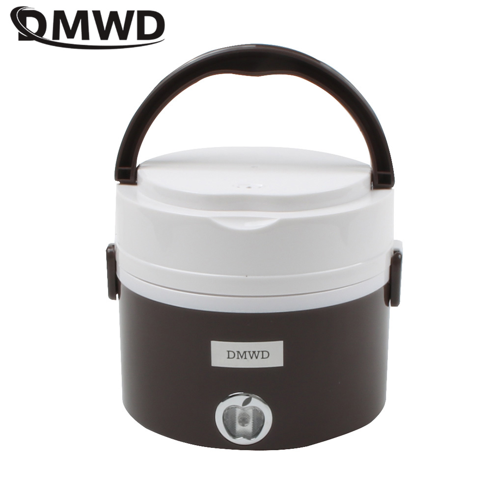 DMWD MINI Electric insulation heating lunch box stainless steel cooking steamer two 2 layers hot rice cooker food container 1.2L dmwd mini rice cooker insulation heating electric lunch box 2 layers portable steamer multifunction automatic food container eu