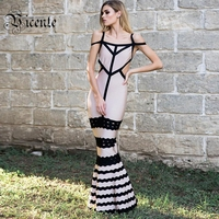 2017 New Free Shipping Elegant Curve Embellished Sexy Off The Shoulder Celebrity Party Women Wholesale Bandage