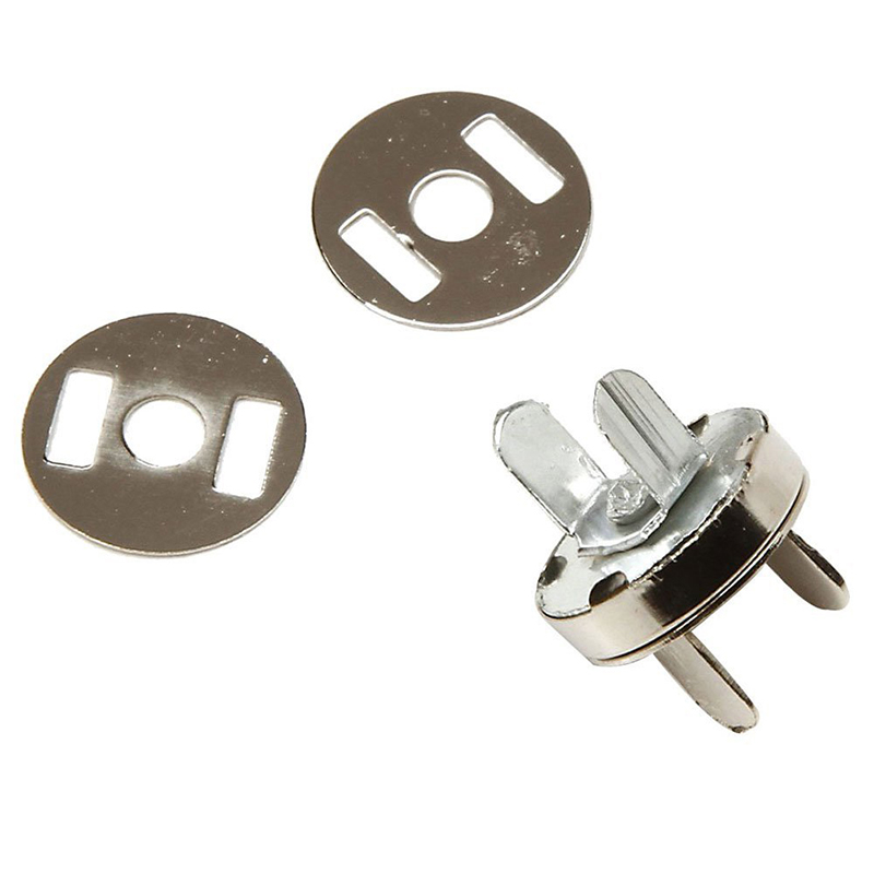 DIY Magnetic Circular Clasp For Bag Purse Clothes (Silver, 1.4cm, Set Of 10)