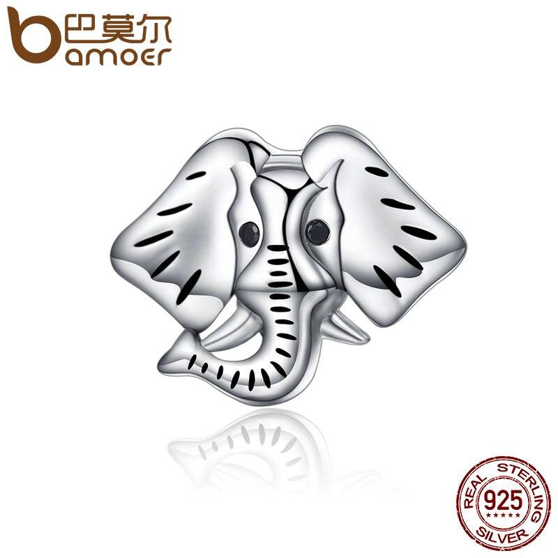 BAMOER Popular Genuine 925 Sterling Silver Forest Guardian Elephant Beads Charm fit Bracelets Bangles Jewelry Making SCC173