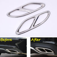2x Steel Rear Bumper Exhaust Tail Pipe Muffler Cover Trim Sticker Fit For Benz E Class