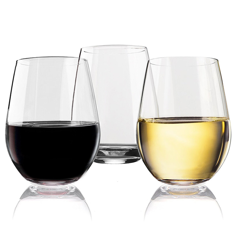 4 PCs PCTG Stemless Wine Glasses Heavy Base Wine Tumbler Set Great For White Red Wine Mother's Day Gifts Wines Glass Sets