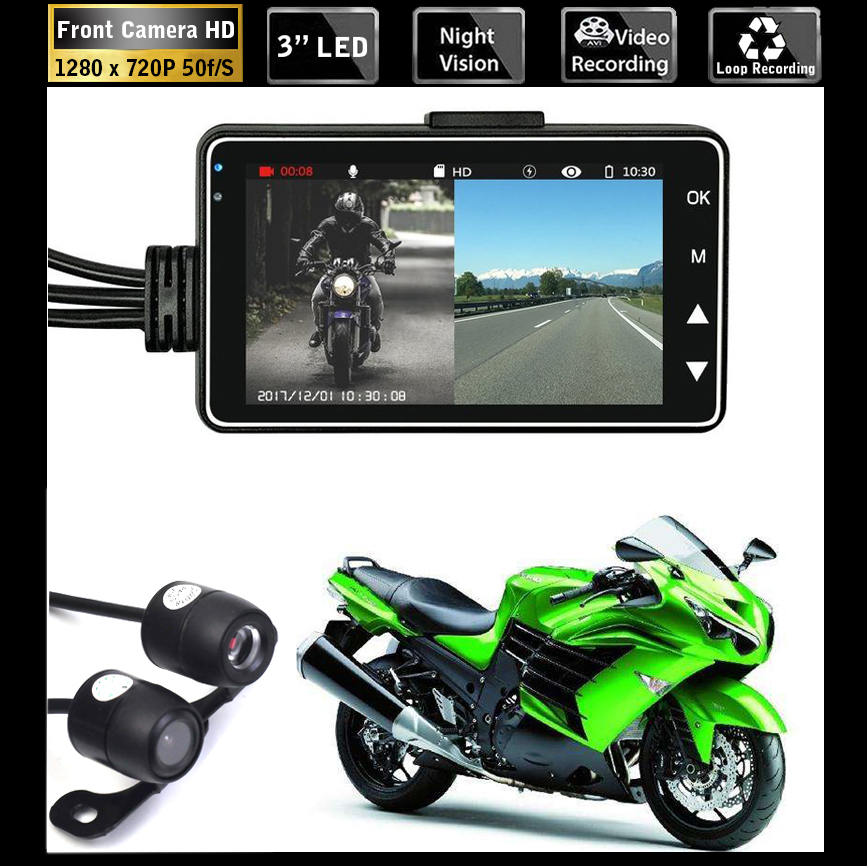 HD Motorcycle Dual Camera DVR Motor Dash Cam with Special Dual-track Front Rear Recorder Motorbike Electronics Moto WaterproofHD Motorcycle Dual Camera DVR Motor Dash Cam with Special Dual-track Front Rear Recorder Motorbike Electronics Moto Waterproof