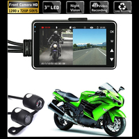 HD Motorcycle Dual Camera DVR Motor Dash Cam with Special Dual track Front Rear Recorder Motorbike Electronics Moto Waterproof