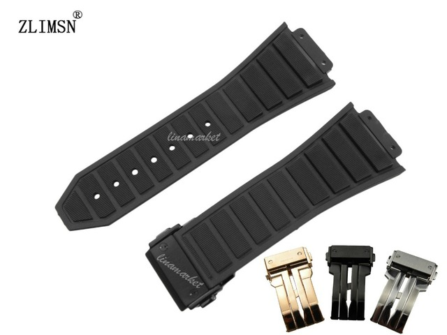 ZLIMSN 30mm Men's Black Watchbands Diving Silicone Rubber Watch BAND Strap Metal Buckle