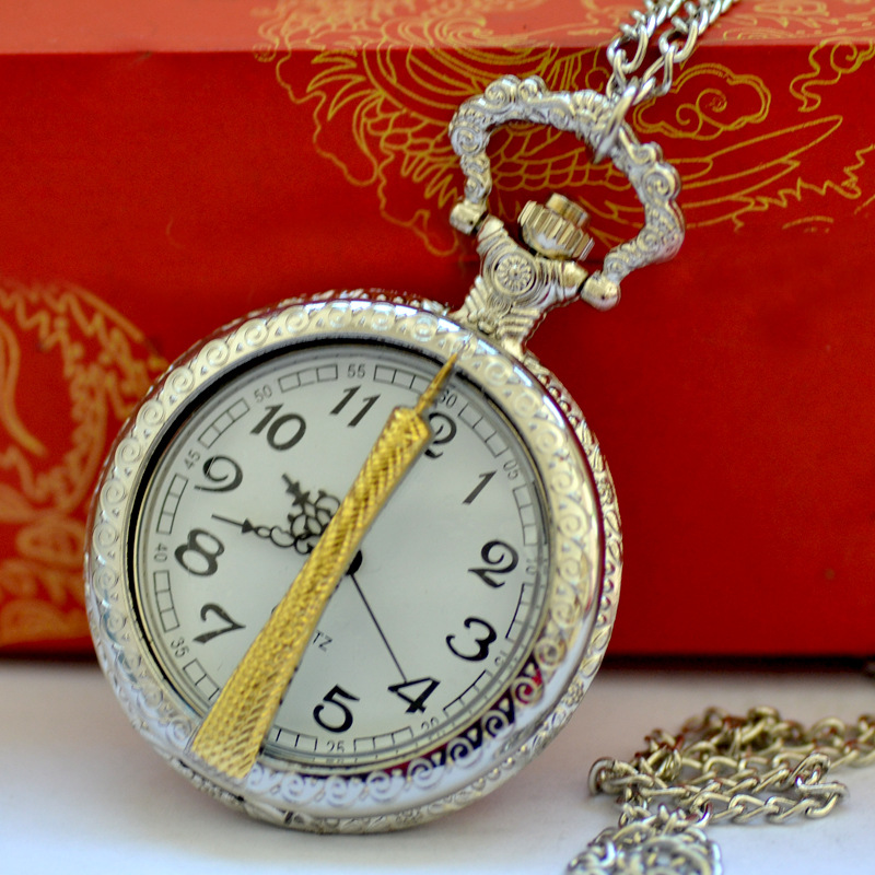 1006  Large Vintage Fashion Casual Creative Craved Golden Canton Tower Silver White Surface Pocket Watch With Clain