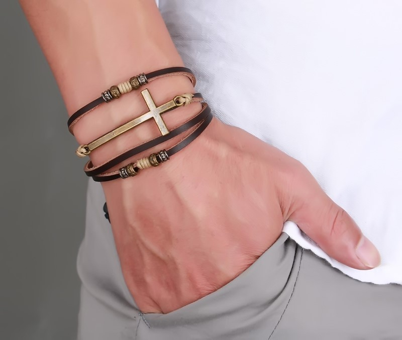 Drop Shipping Leather Cross Bracelets & Bangles For Women Men Jewelry Size Adjustable Bohemia Rope Chain Leather Bracelet Men