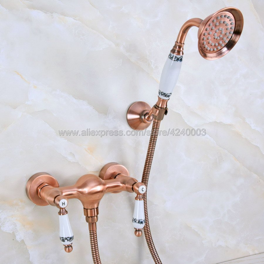 Antique Red Copper Wall Mounted Bathroom Shower Faucet Set Mixer w/ Hand Sprayer Dual Handle Hot and Cold Water Mixer Kna301Antique Red Copper Wall Mounted Bathroom Shower Faucet Set Mixer w/ Hand Sprayer Dual Handle Hot and Cold Water Mixer Kna301