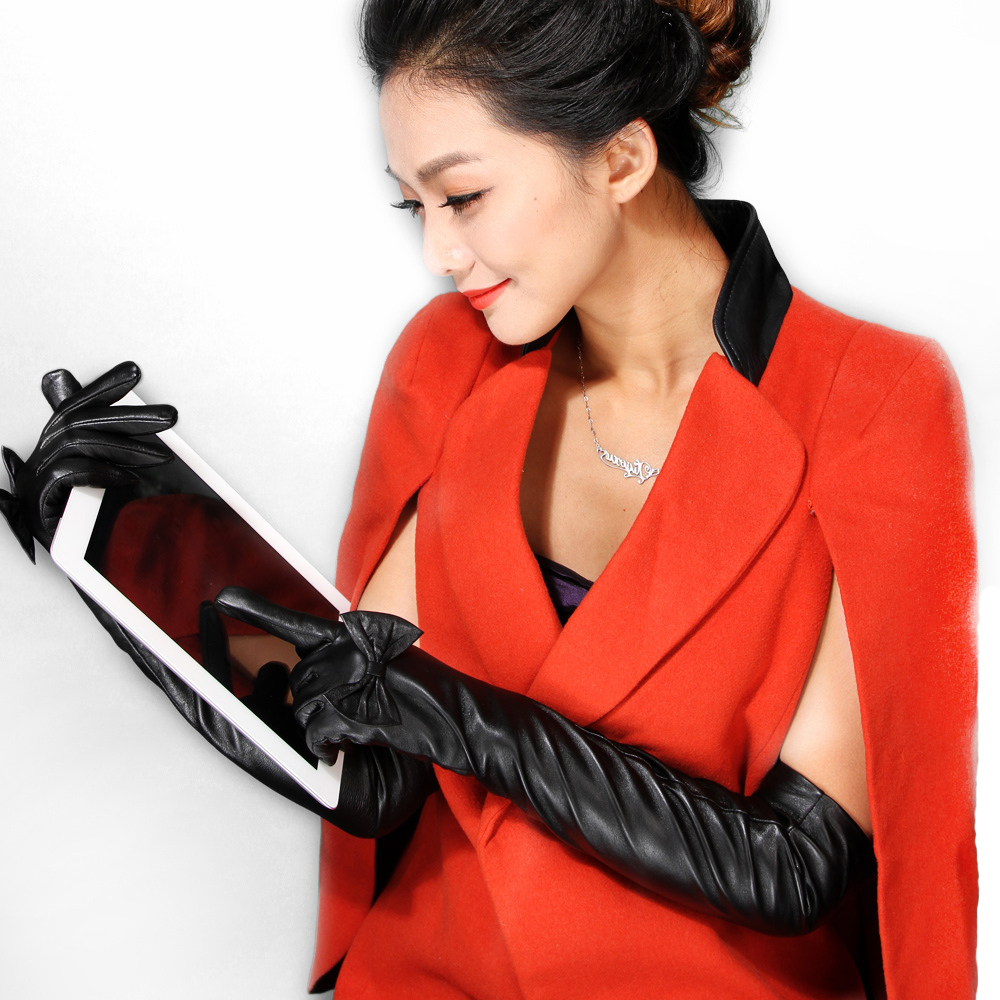 Ladies leather gloves large - 2016 Touch Screen Girls Women Dress Party Model Best Sale Ladies Opera Long Genuine Italian Soft Nappa Leather Gloves Mittens