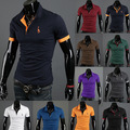 New 2015 solid polo shirt Mens Casual Tops Tee V Neck Polo Shirts Slim Fit Short Sleeve US M-XXXL 12 Colors Hot summe style