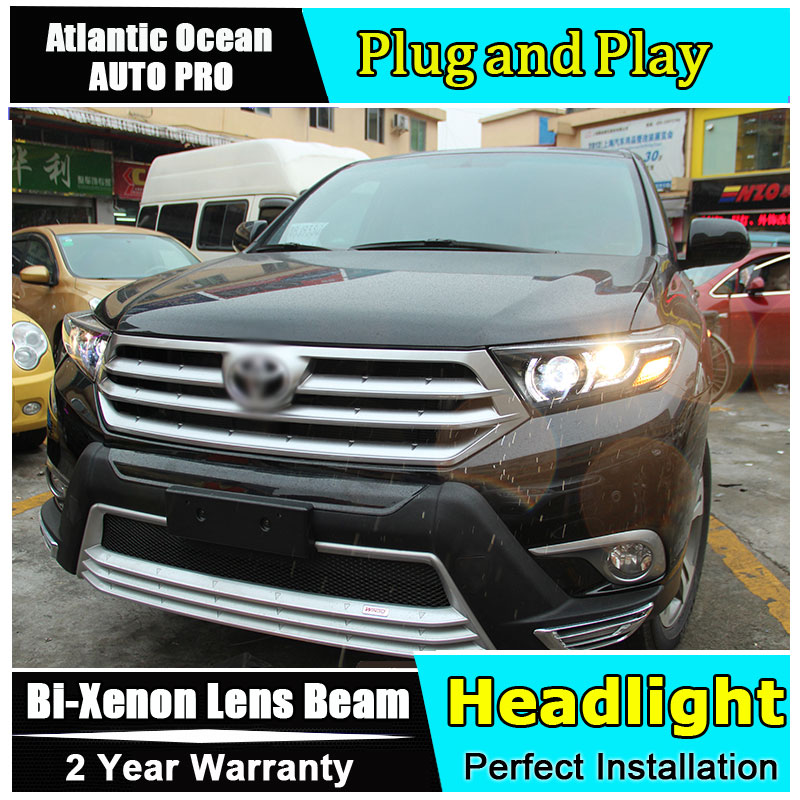Car Styling For Toyota Highlander headlights 2009-2012 For Highlander LED headlight led drl HID KIT LED Bi-Xenon Lens low beam