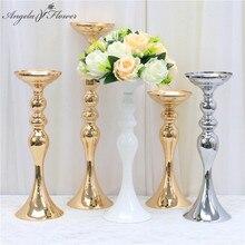 Altın beyaz gümüş mumluklar Metal şamdan çiçek standı vazo masa Centerpiece olay çiçek rafı yol kurşun düğün dekor