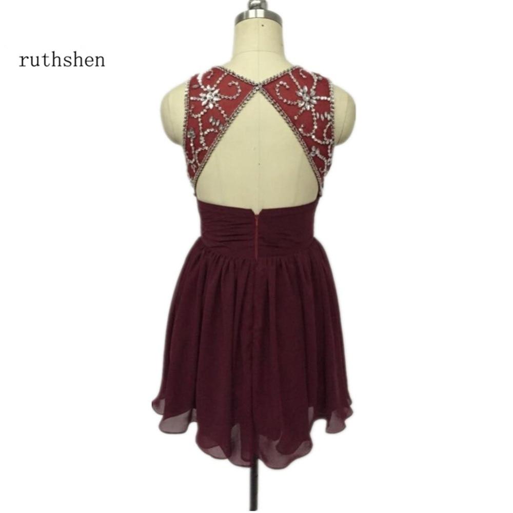 ruthshen Short Burgundy Red Homecoming Dresses 2018 Beaded Pleats Draped Chiffon Junior  ...