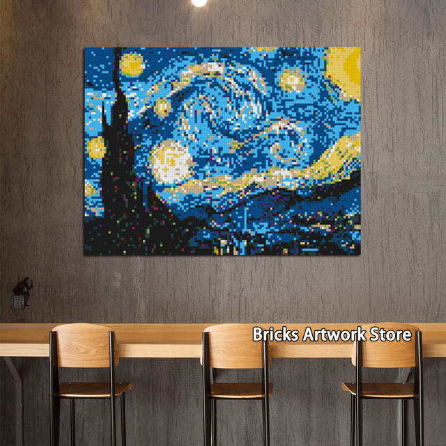 Us 29925 25 Offcreative Pixel Art Mosaic Painting Post Impressionism Van Gogh Moc Set Diy Model Building Blocks Toys Compatible Creative Gifts In