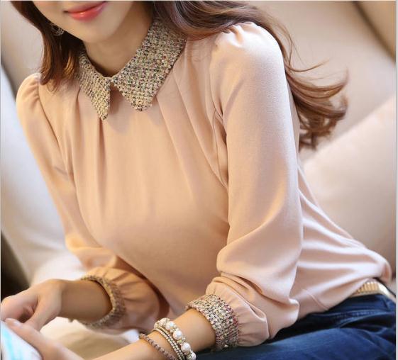 1129bf59edb 2017 Fashion Women Long Sleeve Top Camisa Blusa Feminina Lace Ladies  Chiffon Blouses Shirts Blusas De Renda Plus Size XXL