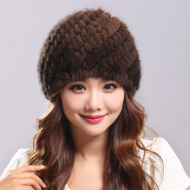 Mink Fur Hat for Women Genuine Natural Fur Pineapple Russian Cap Beanies Fashion High Quality Thick Warm Real Fur Hats