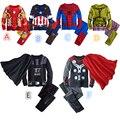 De los niños de Algodón de Dibujos Animados Capitán América Iron Man spider-man Pijamas Del Bebé ropa de Niños Ropa de Dormir Kids Súper Héroes + Capa ropa fijada