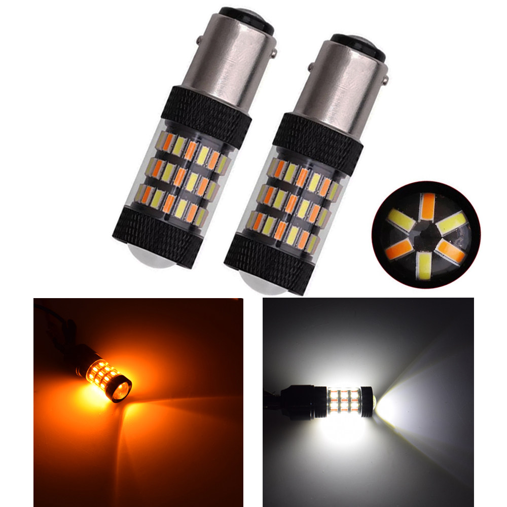 2pcs 3.6w 1157 3157 7443 4014 60 Smd Led Dual Color White/amber Switchback Car Turn Led Light Bulbs 12v Super Bright Crazy Price Automobiles & Motorcycles