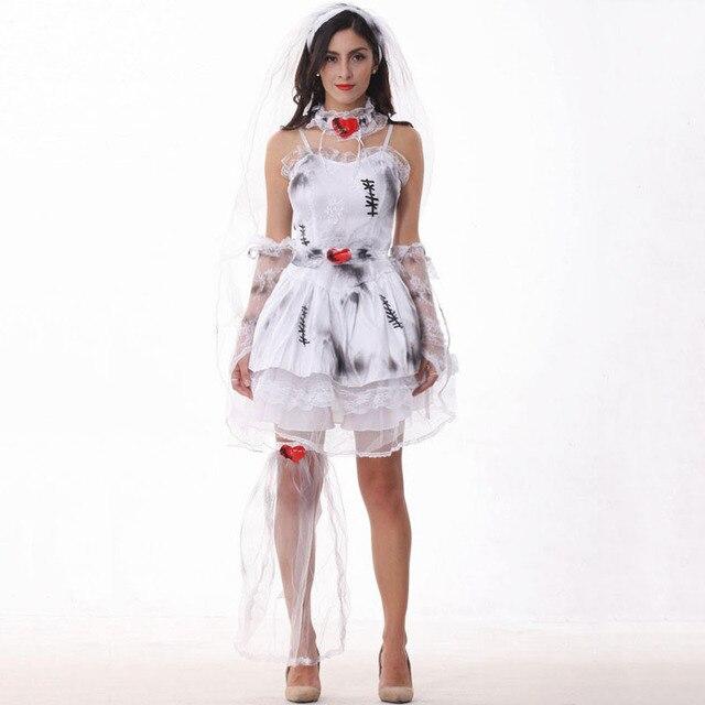 7cf13c18e130 Costume di Halloween per Le Donne Zombie Sposa Cosplay Sexy Bianco Vestito  Operato di Carnevale Del