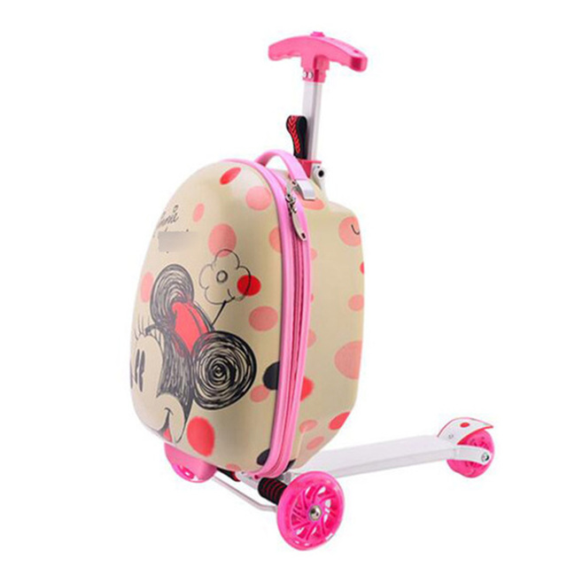 Kids scooter suitcase storage trolley luggage skateboard for children carry-on rolling luggage ride on trolley case With wheels