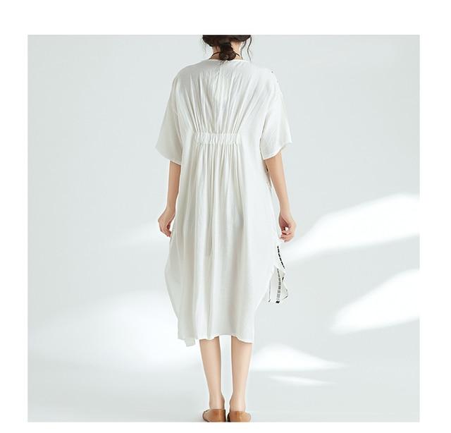 Quirky Lagenlook Asymmetrical hem Big Pockets Casual Flax A-Line Dress 2018 Plus Size Cotton&Linen Tunic Dress Summer Vestidos 4