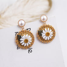 Модные Акриловые круглые серьги в форме листьев цветка для женщин