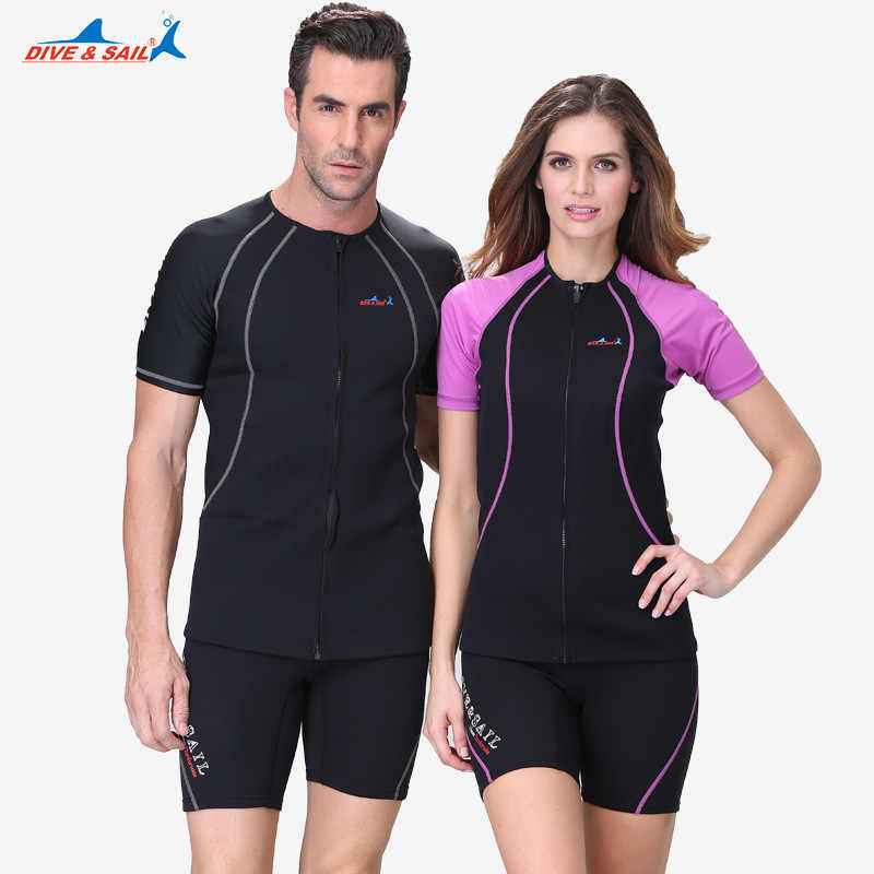 DIVE & SAIL 1.5MM Neopreen Korte Mouwen Wetsuit Tops Mannen Vrouwen Snorkelen Dive Wetsuit Winter Warm Swim Surf Rash guard Jas J