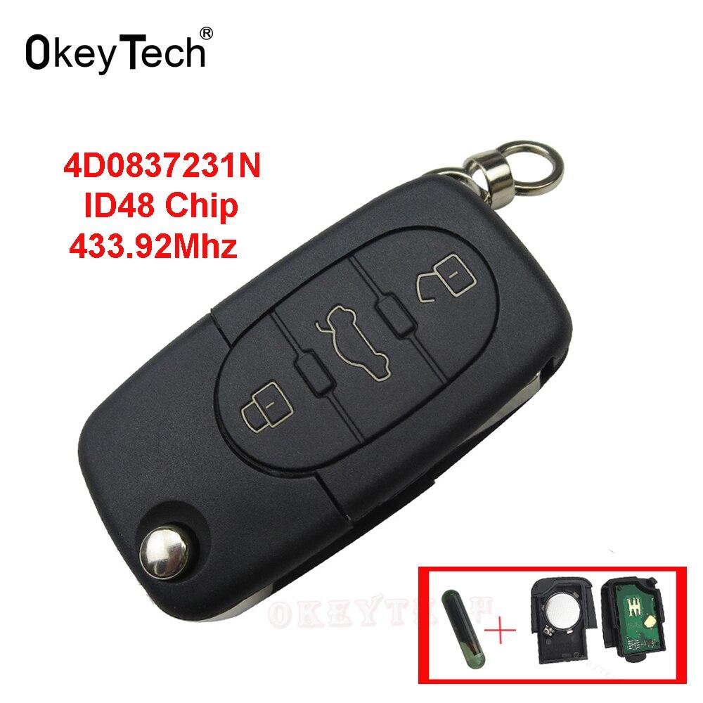 OkeyTech For Audi A2 A3 A4 A6 A8 TT 2002-2004 Remote Control Key 3 Button 433Mhz 4D0837231N ID48 Chip Flip Folding Car Key  FOB