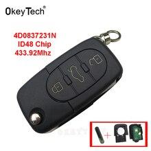 OkeyTech для Audi A2 A3 A4 A6 A8 TT 2002-2004 ключ дистанционного управления 3 кнопки 433 МГц 4D0837231N ID48 чип Флип складной автомобильный брелок