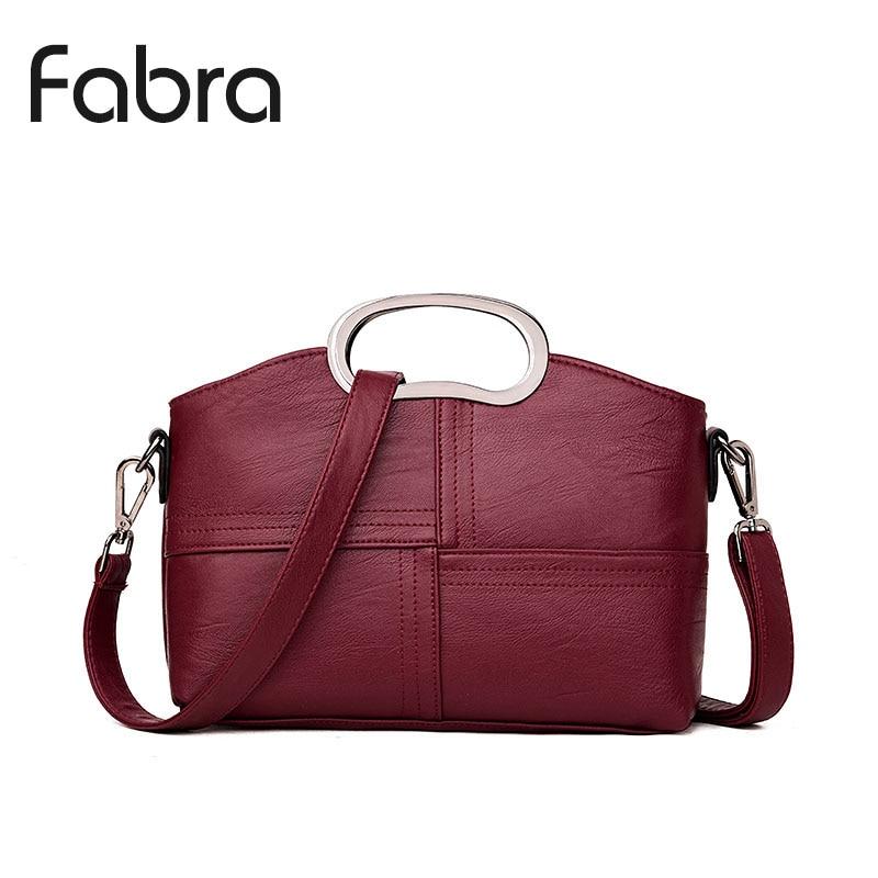 Fabra Brand Women Handbag PU Leather Women Messenger Shoulder Bag Thread Small Fashion Metal Hand Crossbody Shell Bag Wine Red enopella thread casual pu leather women
