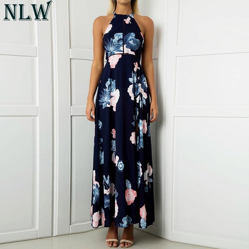 e4eb0a3fe44c NLW Navy Blue Summer Beach Maxi Dress Boho Floral Print Halter Dress Women  Girl High Split Long Vestido De Festa Chic Femme Robe-in Dresses from  Women's ...
