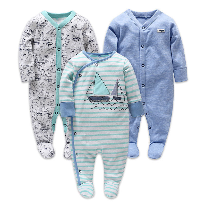 Picturesque Childhood 3-1 Newborn Baby Boy Clothes Cotton Long Sleeve Footies Stripe Sailing Shark Print Blue
