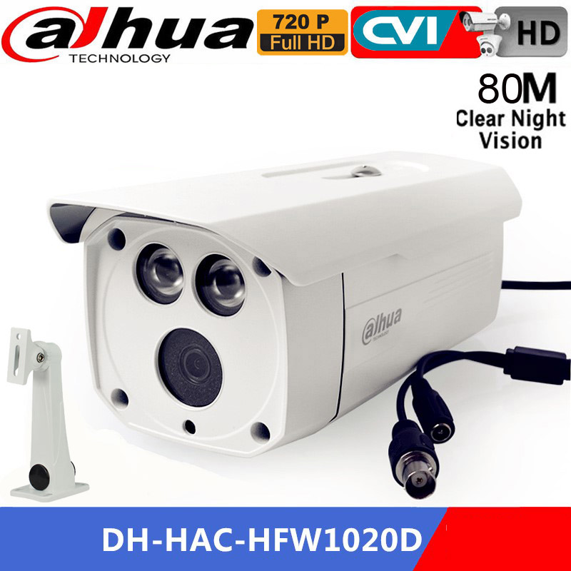 Dahua HDCVI Camera DH-HAC-HFW1020D 1MP 720P IR distance 80M Waterproof dahua CVI camera IP67 HAC-HFW1020D Bullet Security Camera dahua hdcvi 1080p bullet camera 1 2 72megapixel cmos 1080p ir 80m ip67 hac hfw1200d security camera dh hac hfw1200d camera