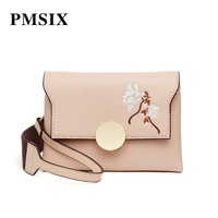 PMSIX Women Crossbody Bags Embroidery Flowers Messenger Bags Female Soft Pink Girl Portable Single Cover Shoulder Bag Women