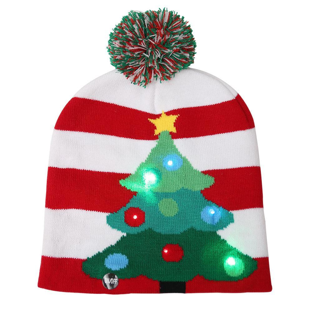 Christmas Tree Hats: Beanie Christmas Decorations Knitting Led Lamp Cap